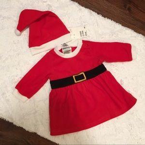 Fleece Baby Girl Santa Dress Set